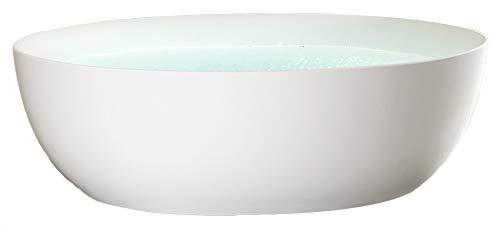 Bernstein Badshop Freistehende Badewanne TERRA Acryl - 186 x 88 cm - Standbadewanne Oval - Weiß glänzend