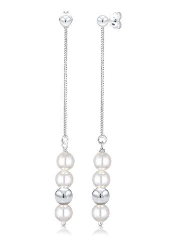 Elli Boucles d'Oreilles Femme Pendentif perle Élégante avec Cristaux Swarovski® en Argent Sterling 925