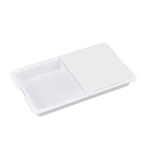 Tabla de Cortar Bloques de Corte Multifuncional Tabla de Corte Strainer Cesta de Vegetales Limpieza de la Cuenca de Frutas para Accesorios de Cocina Dropship (Color : White)