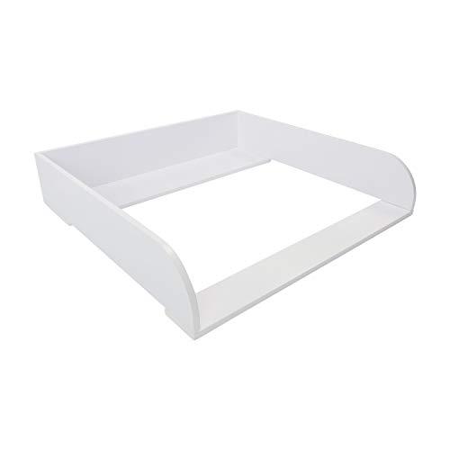 Puckdaddy Wickelaufsatz Ben – 80x78x15 cm, Wickelauflage aus Holz in Weiß, hochwertiger Wickeltischaufsatz passend für IKEA Malm Kommoden, inkl. Montagematerial zur Wandbefestigung