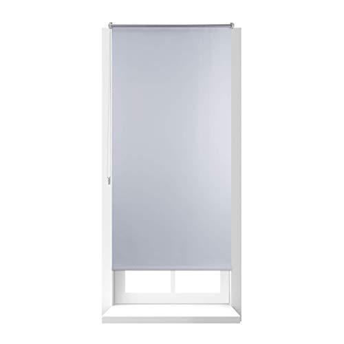 Relaxdays Thermo Verdunklungsrollo, Hitzeschutz, Fenster Seitenzugrollo, Klemmfix ohne bohren, 80x160, Stoff 76 cm, weiß