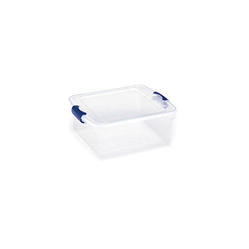 HOMZ Plastic Storage Tote Box, with Lid, Latching Handles, 15.5 Quart, Clear, Stackable, 8-Pack