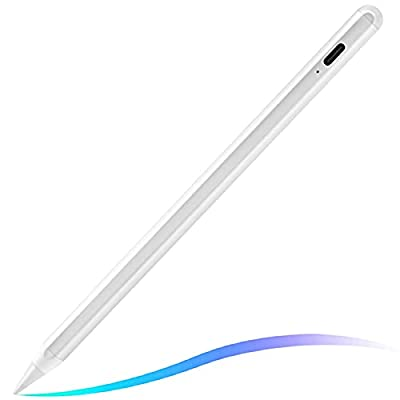 Stylus Pen for iPad, Palm Rejection, Tilting Detection, Active iPad Pencil Compatible with Apple iPad (2018-2021) Version, iPad 8/7/6, Air 4/3, Mini 5, iPad Pro-White for Precise Writing/Drawing