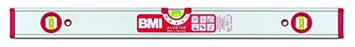 BMI Alu-Profil Wasserwaage ALUSTAR mit Magnet + 2 V (200 cm lang, kantenlose Horizontal-Libelle mit Lupen-Effekt, hohe Messgenauigkeit 0,5 mm/m, mit Gummiendkappen) 694200EMS