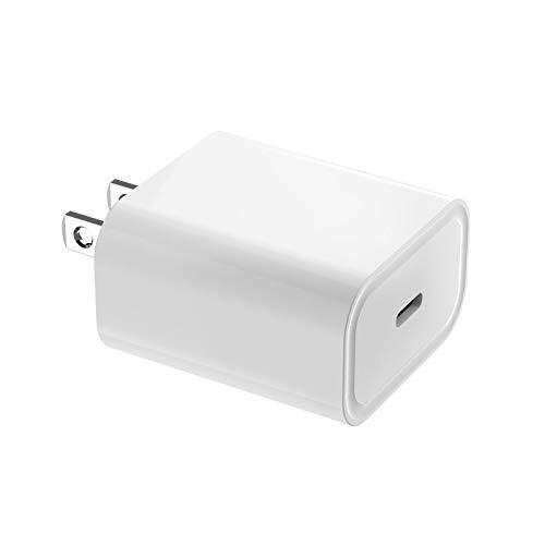 Enchufe De Cargador RáPido Mini iPhone De 20w, Soporte De Carga del Adaptador De iPhone, Adaptador De Corriente USB-C Qc3.0 para Todos Los iPhone 12, Android, Tabletas (Estándar Americano,Blanco)