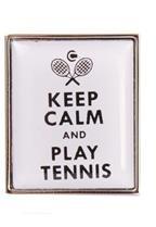 DLC Keep Calm and Play Tennis Manschettenknöpfe Weiß
