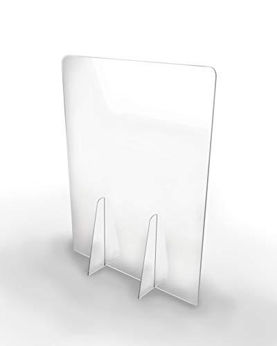 Pantalla Protección Mostrador 50x65cm - PET Policarbonato Transparente 4mm - Mampara para Mostradores ULTRARESISTENTE y ESTABLE - Separador Transparente para Colegios Supermercados Farmacias Tiendas