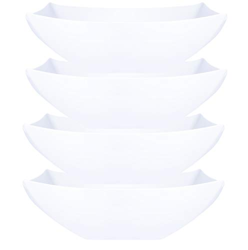 Plasticpro Disposable 128 ounce Square Serving Bowls, Party Snack or Salad Bowl, Extra Large Plastic Elegant White Pack of 4