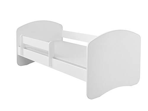 Kinderbett Jugendbett mit einer Schublade und Matratze Weiß ACMA II (140x70 cm, Weiß)
