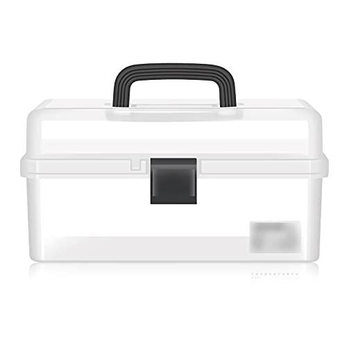 Cassetta degli attrezzi completa Box Tool Box Plastic Organizzatori trasparenti per Art Supply Craft o Medical Storage Toolbox con vassoio a 3 strati pieghevole rimovibile Attrezzi professionali