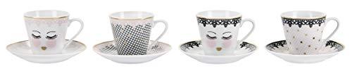 Miss Etoile Espressotassen 4er Set Lace Eyes inklusive Untertassen Espresso-Tassen Mokkatassen Mokka-Tassen 75ml Knochenporzellan Kaffeetassen Klein Kaffee-Tassen Kaffeebecher 75 Milliliter