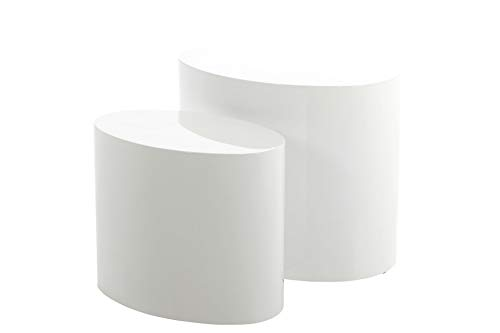 AC Design Furniture Mesas de 2 Nidos Rico Set de 2, Blanco, 48 x 40 x 32,5 cm