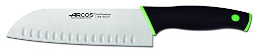 Arcos Serie Duo, Cuchillo Santoku con Alveolos, Hoja de 180 mm, Mango Color Negro Verde