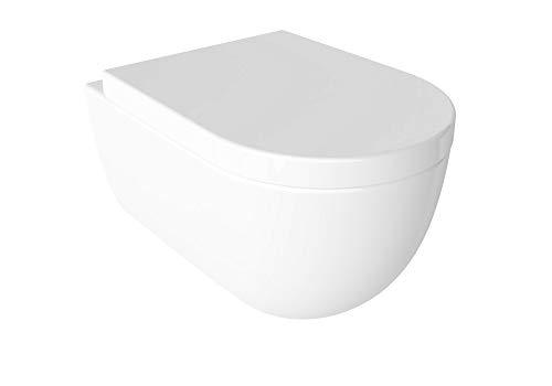 Soho - Inodoro suspendido de pared, sin bordes, con tapa de cierre suave de duroplast, color blanco