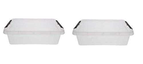 2 pratiche scatole portaoggetti con coperchio, chiusura a clip, dimensioni: 19,5 x 15 x 6 cm, senza BPA, capacità: 1,15 l, ideale per la conservazione di materiale da ufficio, viti, utensili