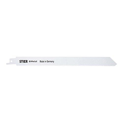 STIER Hoja de sierra sable ST4434, longitud de corte 210 mm, distancia entre dientes 1,8 – 2,5 mm, perfecta para cortar madera y metal