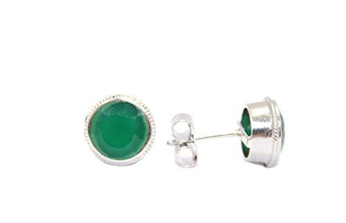 PH - Pendientes de tuerca para mujer, plata de ley 925, ónix verde, piedra preciosa P 106
