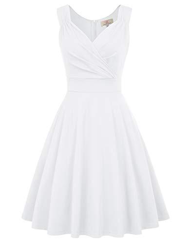 GRACE KARIN Partykleider weiß Petticoat Kleid ärmellos Festliche Kleider Standesamt Swing Kleid, XXL, Cl698-7(weiß)