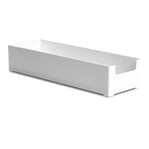 Lubier - Organizador de cajones de plástico multifuncional, organizador divisor duradero, caja de almacenamiento para escritorio, cocina, dormitorio large blanco