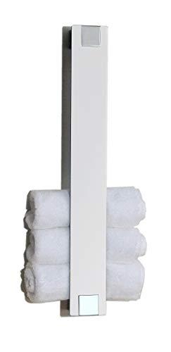 Gästetuchhalter, Handtuchhalter für Gästetücher, Wandhalter, weißes Glas + Chrom - Made in Germany -