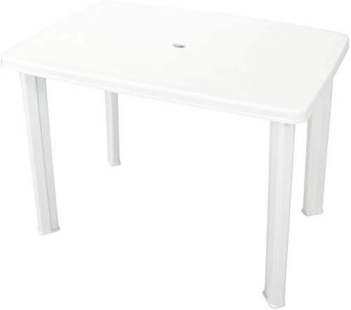 Tomaino Tavolo da Giardino in plastica Rettangolare 101 x 68 x 72 cm (Bianco)