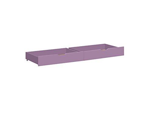 Hoppekids Ida 36–1006–73–07 m Set de tiroir sur roulettes pour lit Junior/pour Enfant/bébé/Enfant, Bois, Lavande, 70 x 160 cm, 2 pièces