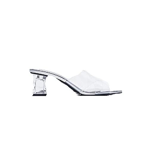 Zapatos transparentes de tacón medio para mujer, de punta abierta, de verano, de moda, sexy, de tacón grueso, sin cordones, para fiestas, cenas, zapatos de vestir (color: plata, tamaño: 39 EU)