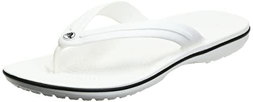 Crocs Unisex Men's and Women's Crocband Flip Flops | Adult Sandals, White, 9 US