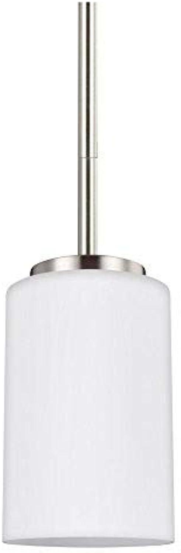 Sea Gull Lighting 61160-962 Oslo One-Light Mini-Pendant Hanging Modern Light Fixture, Brushed Nickel Finish