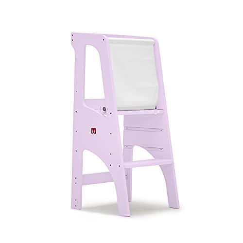 Bianconiglio Kids EVO 2020 KIDSAFE Learning tower Montessori con sistema di sicurezza brevettato KIDSAFE con doppia verniciatura lavabile rosa, regolabile in 3 posizioni