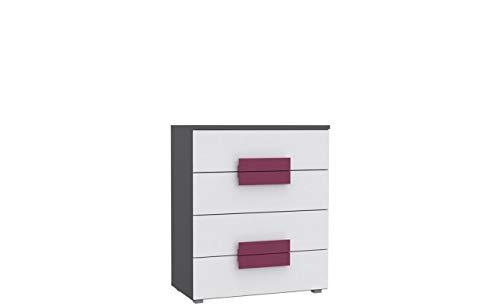 Furniture24 Kommode Libelle LBLK34 mit 4 Schubladen, Schubkastenkommode, Schubladenkommode für Kinder und Jugendzimmer (Grau/Weiß/Violett)