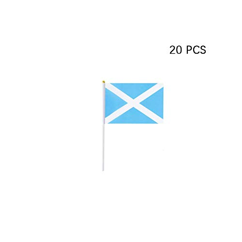 pretty_jessie Scotland Flag Scottish Hand Held Small Mini Stick Flags Decorations International Country World Flags for Party Olympics Festival Parades Parties Decor (20 Pack) (Scotland)