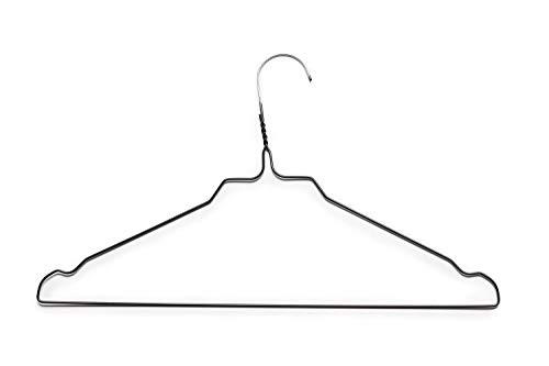 Clean-Clothes Kleerhangers, set van metalen kleerhangers, draad, kleurvarianten, gegalvaniseerd poedercoating, ruimtebesparende topkwaliteit, hanger, kleur beugel: zwart, aantal hangers: 50