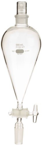 Corning Pyrex Borosilicate Glass Squibb Separatory Funnel, 500ml Capacity