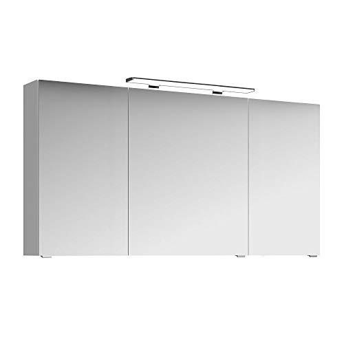 Lomadox Badezimmer 3D-Spiegelschrank in weiß Glanz, 140cm Breite, inkl. LED-Beleuchtung