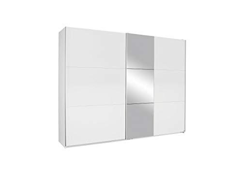Rauch Möbel Kronach Schrank Schwebetürenschrank, 2-türig, Weiß mit 1 Spiegel, inkl. Zubehörpaket Basic 3 Kleiderstangen 3 Einlegeböden, BxHxT 261x210x59 cm