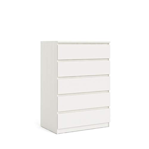 Tvilum 5 Drawer Chest, White Wood Grain