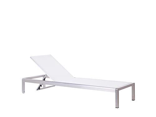 Beliani Moderne Gartenliege verstellbare Rückenlehne Textilbespannung/Aluminium weiß Fossato