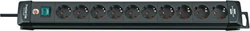 Brennenstuhl Premium-Line, Steckdosenleiste 10-fach (Steckerleiste mit Schalter und 3m Kabel, Mehrfachsteckdose mit 45° Winkel der Schutzkontakt-Steckdosen, Made in Germany) schwarz