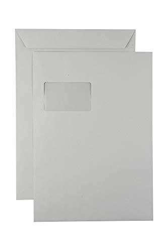 250 Versandtaschen Faltentaschen C4, haftklebend, weiß - mit Fenster