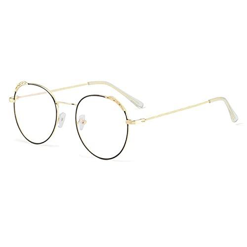 siqiwl Gafas de lectura, Lindo Gato Oído Espejo Plano Gafas Moda Clásico Metal Redondo Marco Mujeres Ultraligero Gafas de Alta Definición (Color: Oro Negro, Tamaño: +2.5)