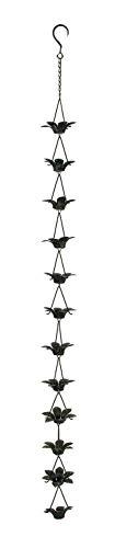 Zeckos Verdigris - Cadena de lluvia con diseño de flor de lirio con colgador adjunto, 122 cm