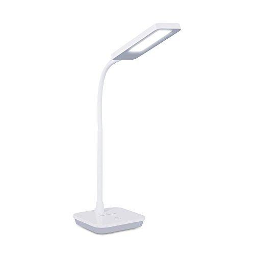 LED Schreibtischlampe, Tischleuchte 3 Helligkeitsstufen Touchfeldbedienung (6W, 800LUX, 3-Level-Dimmer, Flexible Arm, Weiß)