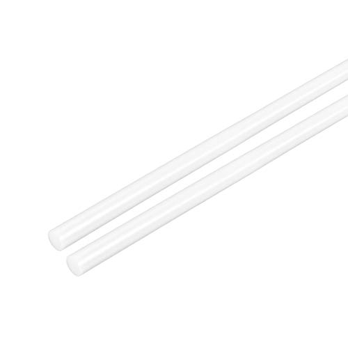 uxcell 2pcs Plastic Round Rod 1 8 inch Dia 20 inch Length White (POM) Polyoxymethylene Rods Engineering Plastic Round Bars(3mm)