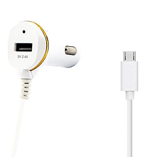 Cargador del Coche para Samsung Galaxy A10/S7 Edge/S6 Edge/A8/J7/Note 5,Huawei Y7P/P9 Lite/P10 Lite/Mate 8/Y7/Y6P,Xiaomi,HTC M9,con Cable Micro USB(Blanco)