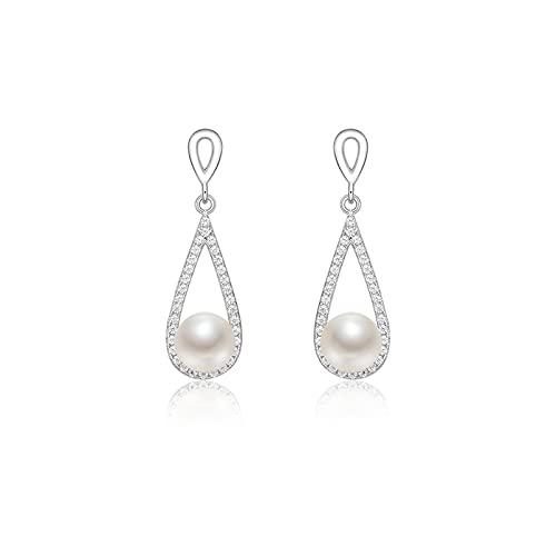 OMING Arete Pendientes de Perlas 925 Plata Perla DE Agua DE Agua DE Frutos 6-7mm Pendientes de joyería Simple Pendientes para Mujer Pendientes para Mujer