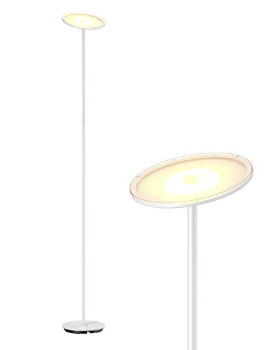 LED Torchiere Floor Lamps, Gladle Dimmable Tall Standing Lights for Living Room Bedroom Office, Super Bright Modern Sky Floor Lamp Uplight with 5 Brightness Levels, Work with Smart Plug, Warm White