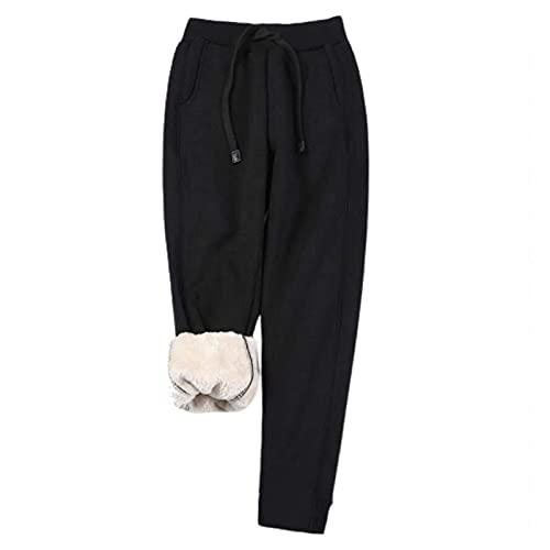 Pantalones de chándal Fleece para Mujer Cálido Casual Jogger Pantalones de Ocio Invierno Imitación Cashmere Jogger Pants Engrosado Fleece Forrado Pantalones Deportivos Pantalones Deportivos