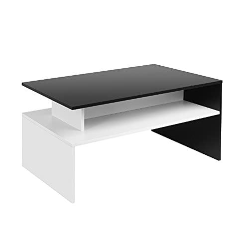 Table Basse Table de Salon Design Moderne 90x50x43cm Noir et Blanc