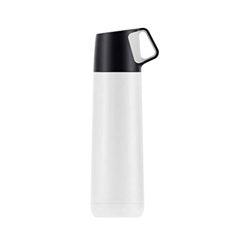 CCBCZ Fashion Hit Color Insulation Cup, Small Fresh Stainless Steel Vacuum with Cup Lid Bullet Cup 350ml (Color : White)